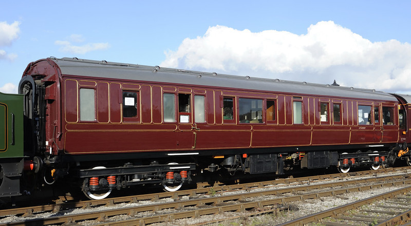 LMS 45000, Swanwick Junction, Sun 14 October 2012.  Behind the Duchess were two of the coaches owned and restored by the PRCLT.  This carriage was built in 1920 at Wolverton by the London & North Western Rly as a chairman's saloon, and was used in the royal train.  After withdrawal it was claimed for the national railway collection, but subsequently discarded.