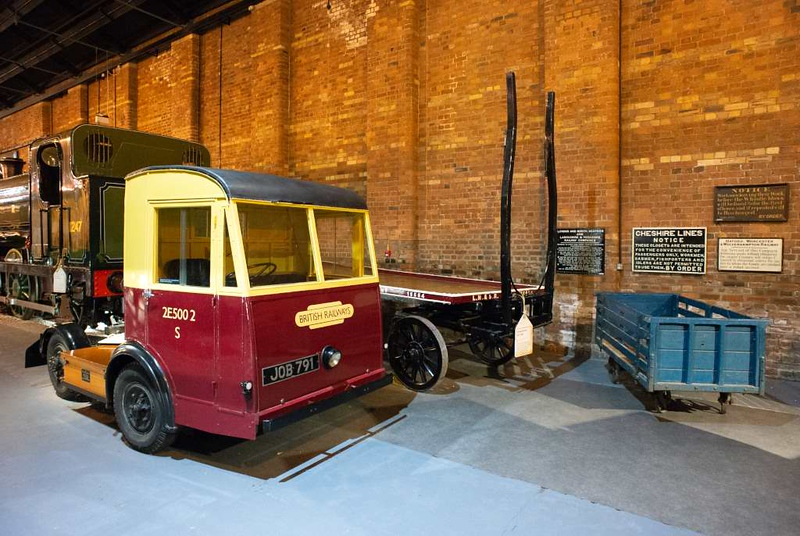 BR mechanical horse 2E500 2 S / JOB 791 & LMS dray 15554, National Railway Museum, York, 31 January 2014.  The battery-powered mechanical horse was built by Electricar for the Southern Region.  It had a top speed of 18mph and its battery would last 25 miles between charges.