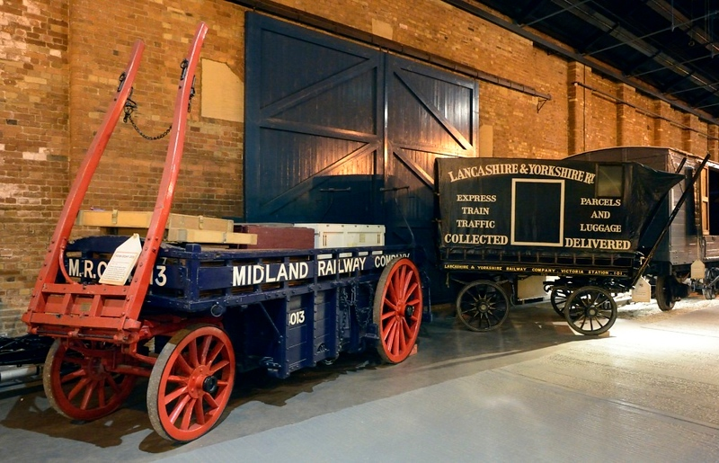 Horse-drawn carts, National Rly Museum, York, Fri 31 August 2014