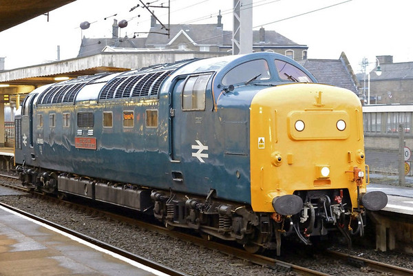 55002 King's Own Yorkshire Light Infantry, 0Z62, Carnforth, Fri 31 January 2014 - 0824.  The NRM's rarely seen Deltic arrives from York to pick up empty coaches.  It was due to move 6229 Duchess of Hamilton from Shildon to York later in the day.  The Duchess has no brakes, so the coaches were needed for brake force.