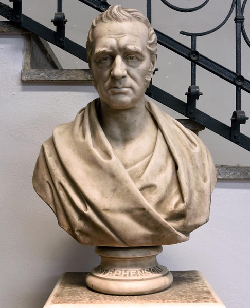 Bust of George Stephenson, Leonardo da Vinci National Museum of Science and Technology, Milan, 9 June 2015.  The Geordie looks every inch a Roman senator.