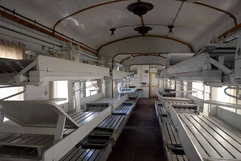 Interior of ambulance carriage 017 - 70866, Moscow Railway Museum, Rizhskiy Station, 30 August 2015.  No ambulance carriages survive in Britain, but here is a Russian example.