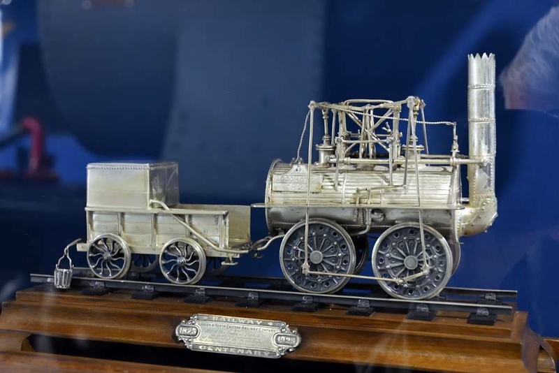 Silver model of Locomotion No 1, Locomotion, National Railway Museum, Shildon, 26 September 2017.  Presented by the LNER to the Duke of York (later King George VI) in 1925 during the Stockton & Darlington Railway centenary celebrations at Darlington.