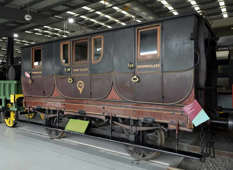Stockton & Darlington Railway coach 31, Locomotion, National Railway Museum, Shildon, 26 September 2017 1.  First and second class composite built in 1846 in Darlington by Horner Wilkinson.