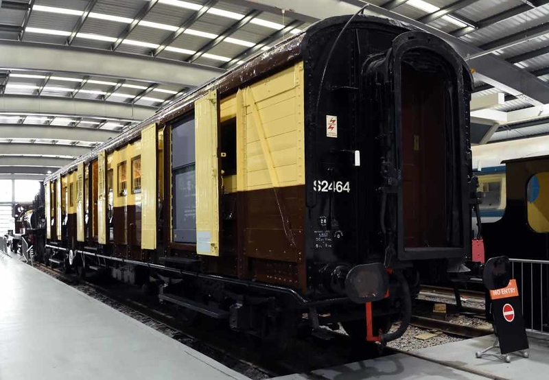 S 2464, Locomotion, National Railway Museum, Shildon, 26 September 2017.  Southern Railway gasngwayed luggage van built at Ashford in 1931.  Carried Winston Churchill's coffin in his 1965 funeral train.  Subsequently sold to the USA but repatriated in 2007.