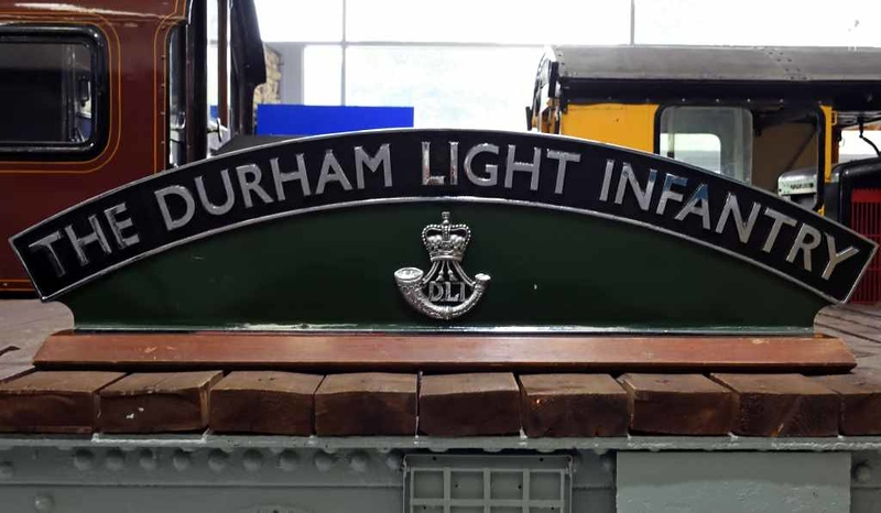 Durham Light Infantry nameplate from LNER V2 2-6-2 60964, Locomotion, National Railway Museum, Shildon, 26 September 2017