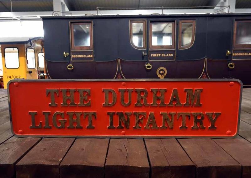 Durham Light Infantry nameplate from Deltic D9017, Locomotion, National Railway Museum, Shildon, 26 September 2017