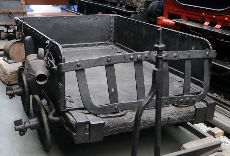 Peak Forest tramway truck No 174, National Railway Museum, York, Sat 8 September 2012.  The 1797 truck still has flangeless wheels.  It is the oldest original and complete vehicle in the NRM.