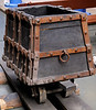 Replica medieval mine truck, National Railway Museum, York, Sat 8 September 2012.  Full size replica of a  'Hund' truck as used in German mines in the 1500s.  They were propelled by hand.  NB the wooden wheels and 'rails'.