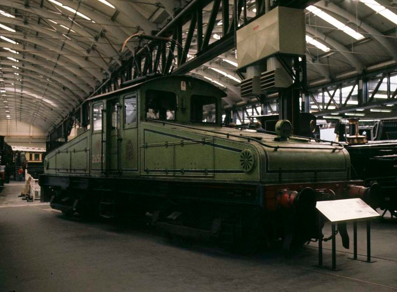 North Eastern Rly No 1 [ 26500 ], National Railway Museum, York, 2 October 1976.  600hp, 600V DC Bo-Bo loco built in 1905 by Brush with electrical equipment by British Thomson Houston for the NER's freight only Quayside branch in Newcastle.  Fitted with conductor shoes and a pantograph on the roof, as the branch had an overhead wire but a third rail in a tunnel.  Worked on the branch with sister loco 26501 until it closed in 1964.  The loco had not been displayed previously, and had been stored at Hellifield 1965 - 1966.  By 2012 it was at Locomotion, Shildon.  Photo by Les Tindall.