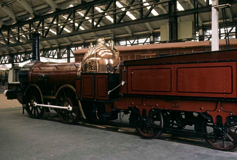 Furness Rly 0-4-0 No 3 ('Copperknob'), National Railway Museum, York, 2 October 1976.  Built in 1846 by Bury, Curtis & Kennedy of Liverpool.  Nick-named 'Coppernob' on account of its prominent copper-clad firebox.  Previously on display in the Clapham museum.  Still at NRM York in 2017.  Photo by Les Tindall.