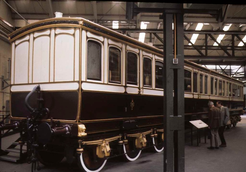 Queen Victoria's saloon, National Railway Museum, York, 2 October 1976.  Built by the LNWR in 1895 from two separate coaches built for the Queen in 1869 at Wolverton.  Still at NRM York in 2017.  Photo by Les Tindall.
