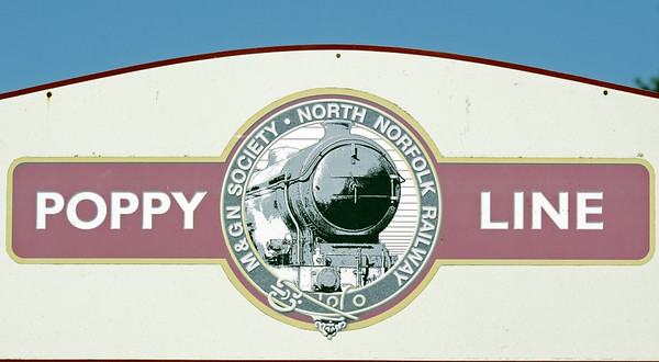 Welcome to the North Norfolk Rly!  Sat 31 August 2013.  The North Norfolk, aka the Poppy Line, is just under five miles long.  It runs from Sheringham westwards to Holt on the route of the Eastern & Midlands (later Midland & Great Northern Joint) Rly's 1887 line from Melton Constable to Cromer.  The line is steeply graded, and westbound trains face two miles at 1 in 80.  A connection to the national rail network at Sheringham was opened in 2010; it is mainly used by locos visiting the line.