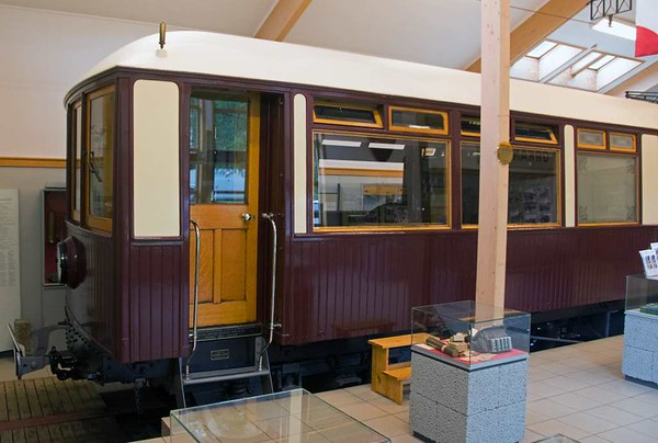 King's coach, Thamshavn Railway, Lokken, Norway, 21 July 2015 1.  This is an electric railcar built in Preston in 1908 by the United Electric Car Company, later part of English Electric. It was supplied by British Westinghouse to the Thamshavn Railway, Norway, as a directors' saloon but acquired its nickname after the King of Norway rode in it.  The railway opened in 1908 to carry copper ore from mines at Lokken to the port of Thamshavn, south west of Trondheim.  It is metre gauge, and was electrified from the outset at 6600V / 25Hz.