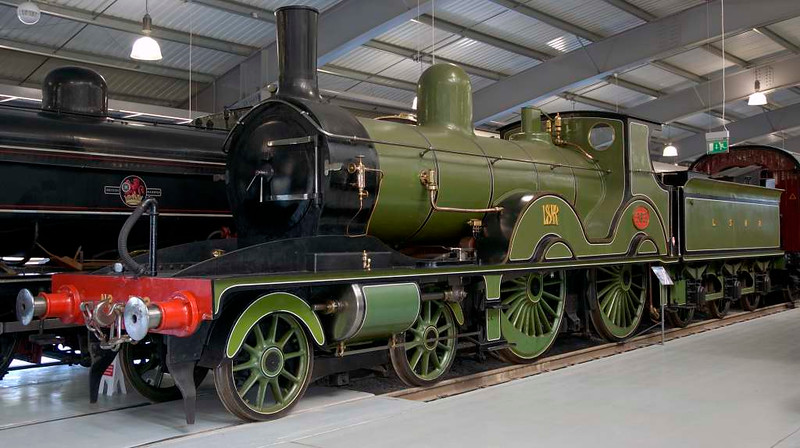 London & South Western Rly 4-4-0 No 563, Locomotion, National Railway Museum, Shildon, 23 April 2005.  Adams design, built by the LSWR at Nine Elms, London, in 1893.