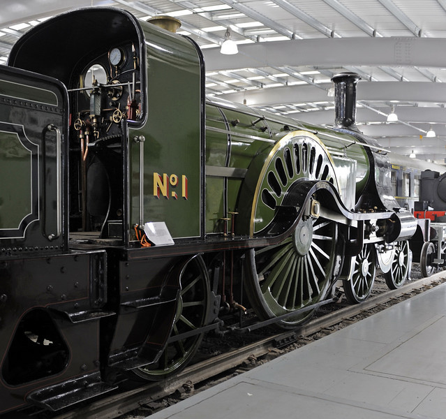 Great Northern Rly 4-2-2 No 1, Locomotion, National Railway Museum, Shildon, Mon 8 October 2012 1.  Patrick Stirling's 1870 'Single', famous for its 8ft driving wheels.