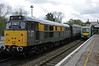 31206 & 171805, Eridge, Sat 26 April 2014 - 1403.  The Dutch-liveried 31 waits to work the Spa Valley's 1410 to Tunbridge Wells West.  It has been on loan to the Spa Valley from the Rushden Transport Museum since 2012.  The Turbostar was working Southern's 1308 London Bridge - Uckfield.