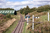 Andrews House, Sun 11 September 2016 1.  Looking north from Gibraltar Bridge towards Sunniside (sic), the northern end of today's Tanfield Railway.  The signal box marks the point where the Pontop & Jarrow (later Bowes) Railway crossed the Tanfield line.  It is a replica of the original, and is used for issuing tokens.  (The Tanfield Railway is single track except at Andrews House station.)  The modern Marley Hill carriage shed is at left.
