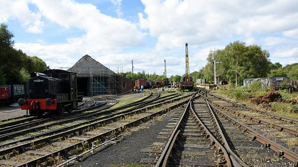 Marley Hill yard, Tanfield Railway, Sun 11 September 2016.  Looking west.  At left beyond the Armstrong Whitworth diesel is the 1854 loco shed.