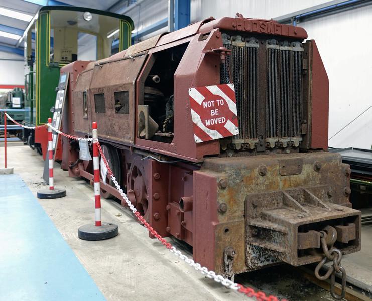 Tilmanstone colliery, Kent, fireless mine loco, Amberley museum, Sun 12 October 2014. Two foot gauge 0-4-0DMF built by Hudswell Clarke (DM 686 / 1948).  Beyond is Peldon.