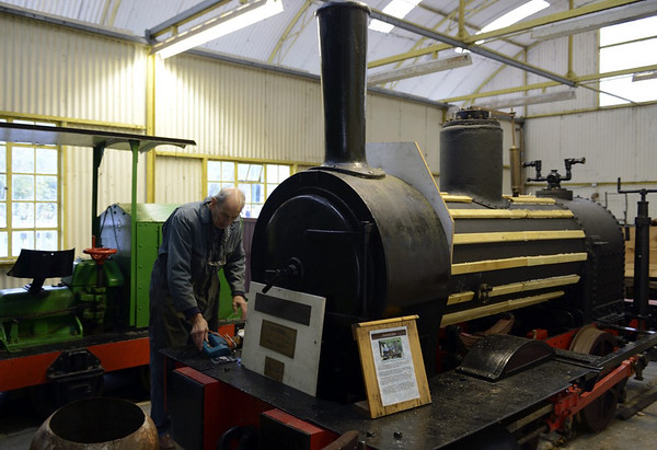 Townsend Hook, Amberley museum, Sun 12 October 2014 1.  Townsend Hook is an 0-4-0T built in Whitehaven by Fletcher Jennings (172L / 1880) to the very unusual gauge of 3 feet 2.25 inches for the Betchworth, Surrey, chalk quarry of the Dorking Greystone Lime Company.  The loco was No 4 in the Betchworth fleet, and is named after its chairman.  It spent its entire life in the quarry, as did sister No 5 William Finlay (Fletcher Jennings L173 / 1880), which was named for the company's engineer and which survives in private ownership at Beamish.