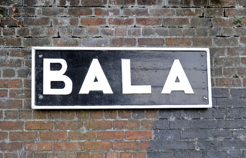 Bala station sign, Penybont, Thurs 25 August 2011.