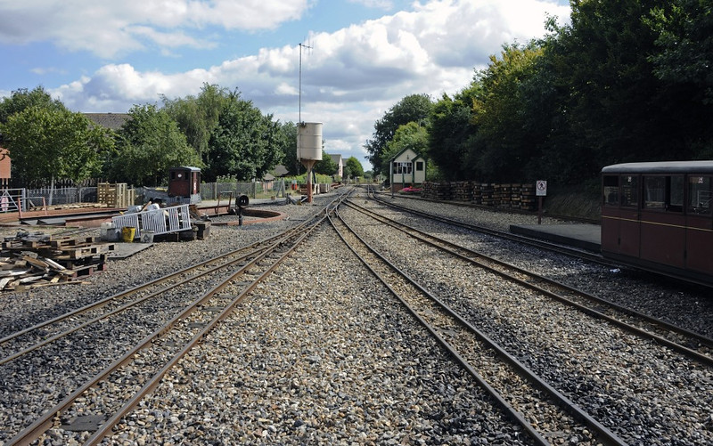 Aylsham station, Fri 30 August 2013 1.  Looking south, towards Wroxham.  NB the turntable at left.