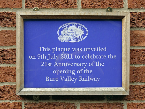 Welcome to the Bure Valley Rly!  Fri 30 August 2013.  This 15 inch gauge line opened in 1990 in north Norfolk. It runs from Wroxham, on the Norfolk Broads, to Aylsham, is nine miles long, and occupies one side of the trackbed of a standard gauge line closed in 1982.   The other side is a footpath and cycleway.  At the time of my visit the Bure Valley's 2-6-4T No 1 Wroxham Broad was helping out the Ravenglass & Eskdale Rly, which was short of locos following a fire, so I did not photograph it.