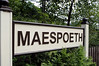 Maespoeth station sign, Tues 23 August 2011.   Maespoeth is the end of the line from Corris at present.  Passengers may alight, but cannot leave the station and have to return to Corris.  The round trip takes about 50 minutes.  Passengers cannot join trains at Maespoeth.