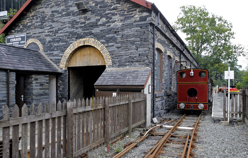 Maespoeth engine shed, Tues 23 August 2011 1.  No 7 waits to propel the train back to Corris.