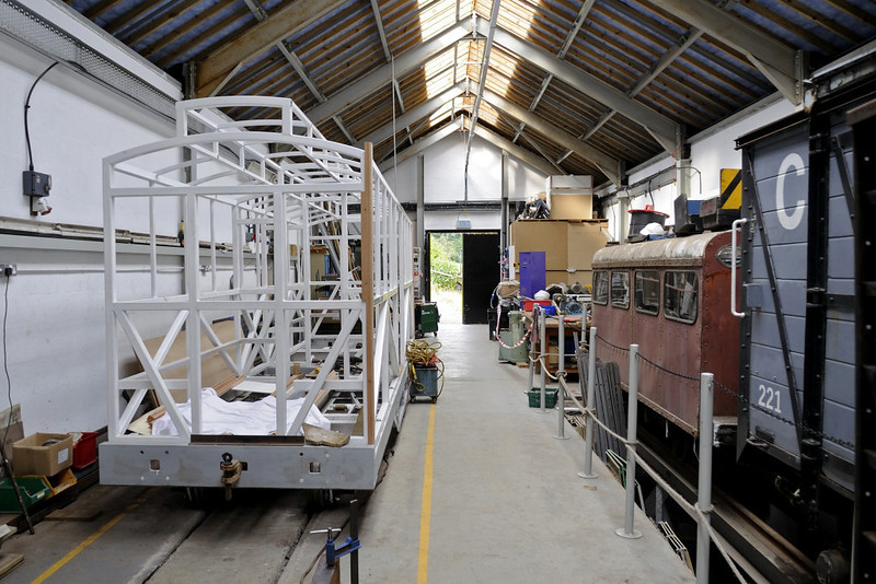 New clerestory carriage No 22, Maespoeth, Tues 23 August 2011 1.   Here is the interior of the new carriage and wagon shed.  The Corris plan to build three new replica coaches.