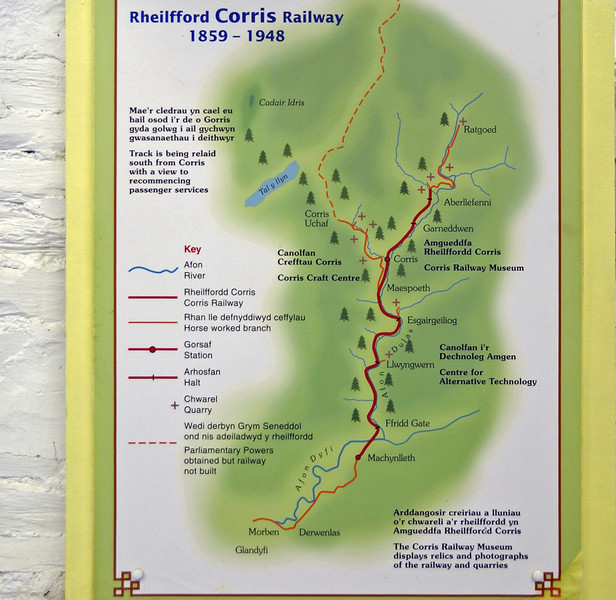 Corris Rly map, Corris, Tues 23 August 2011.  Welcome to the Corris Rly!  Built to carry slate to the navigable River Dyfi at Machynlleth, the Corris was laid to the unusual gauge of 2ft 3in, shared only with the nearby Talyllyn Rly.  The GWR bought the Corris in 1930, and BR closed it in 1948.  The Talyllyn Railway Preservation Society was founded in 1951, and bought the Corris's two locos, which in 2011 were both hard at work on the Talyllyn.  The Corris Rly Society was founded in 1966, and in 2011 was running trains between Corris and  Maespoeth.