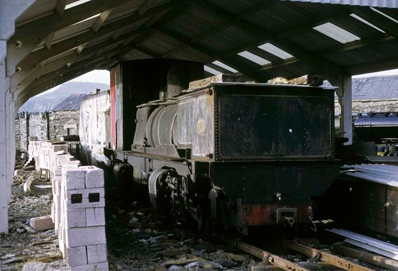 Tasmanian Railways 0-4-0 + 0-4-0T No K1, Boston Lodge, Porthmadog, 5 October 1974.  The very first Beyer-Garratt loco (5292 / 1909), still at the Ffestiniog in 2017.  Photo by Les Tindall.