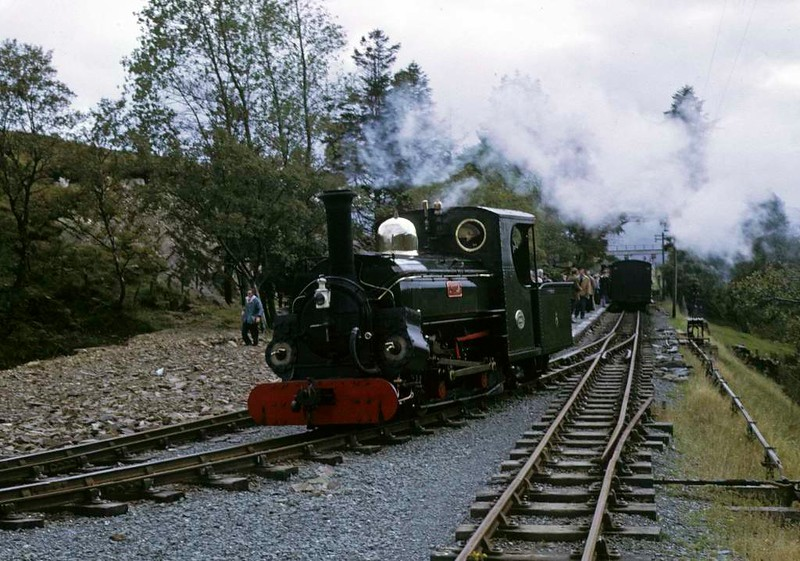 Linda, Dduallt, 5 October 1974 1.  Coming off its train before running round for the return to Porthmadog.  Dduallt was the terminus of the railway at the time of this photo.  Photo by Les Tindall.