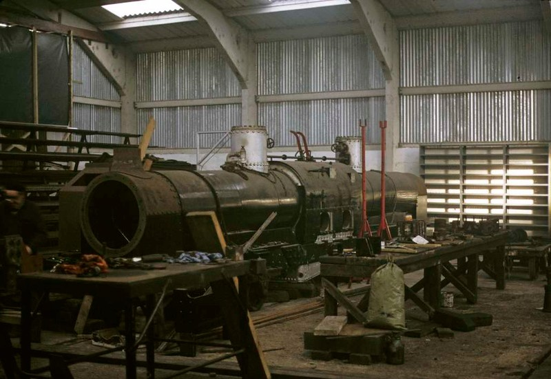 Earl of Merioneth, Boston Lodge, Porthmadog, 5 October 1974.  New double Fairlie 0-4-4-0T under construction.  It entered traffic in 1979.  In 2017 it was still at the Ffestiniog.  Photo by Les Tindall.