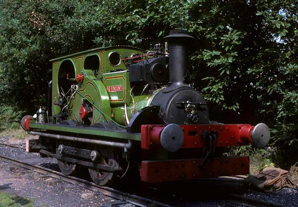 Sir Vincent, Hollycombe Steam Centre, Liphook, West Sussex, 27 August 1978.  Aveling Porter 4wWT 8800 / 1917.  In 2017 this loco was at the Fawley Hill Railway, Berkshire.  Photo by Les Tindall.
