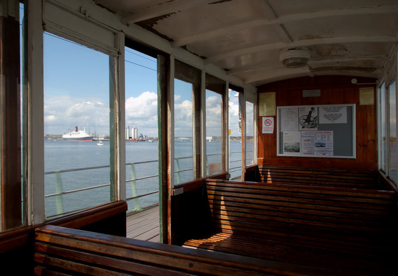 Hythe Pier Railway, 15 June 2008 5    Carriage interior, with QE2 in the distance.