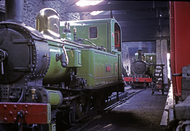 Nos 10 G H Wood & 13 Kissack, Douglas loco shed, 6 September 1974.  Photo by Les Tindall.
