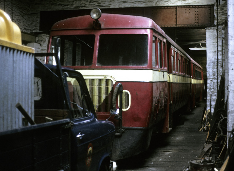 Former County Donegal Rly railcars Nos 19 & 20, Douglas loco shed, 6 September 1974.  Built in 1950 - 51 by Walker of Wigan, they were bought from CIE in 1961 after the County Donegal system had closed.  Photo by Les Tindall.
