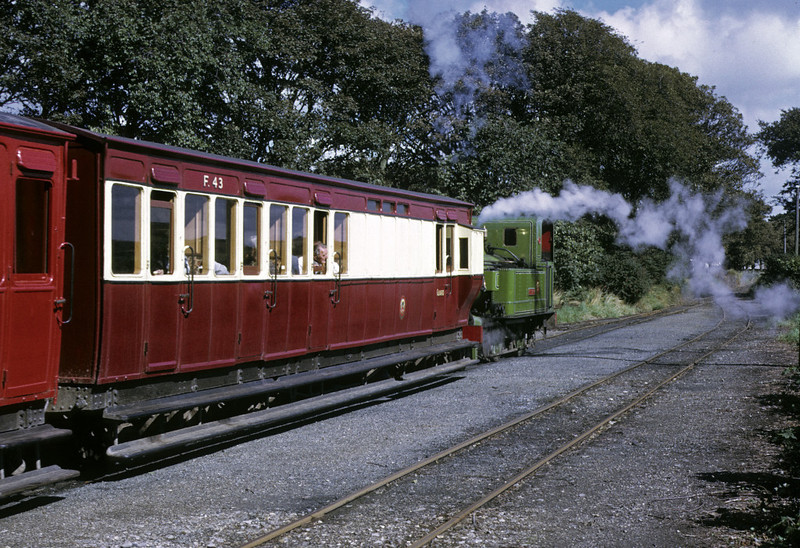 No 13 Kissack, Ballasalla, 6 September 1974.  Departing for Douglas after crossing Loch's train.  Photo by Les Tindall.