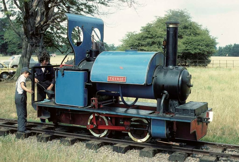 Trixie, Knebworth Park & Wintergreen Railway, 25 July 1976.  0-4-0ST built by Trevor Barber in 1974.  At the time of this photo it was owned by Alan Keef and was based at the Meirion Mill Railway in Dinas Mawddy, north Wales.  The railway only operated 1975 - 1977.  Trixie moved to Belgium in 1977, and in 2018 was thought to be in France.  Photo by Les Tindall.