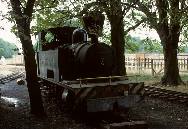 Isibutu, Knebworth Park & Wintergreen Railway, 23 August 1975 1.  Bagnall 4-4-0T 2820 / 1945.  Repatriated from the Tongaat sugar company, Natal, South Africa, to Knebworth Park in 1972.  Photo by Les Tindall.