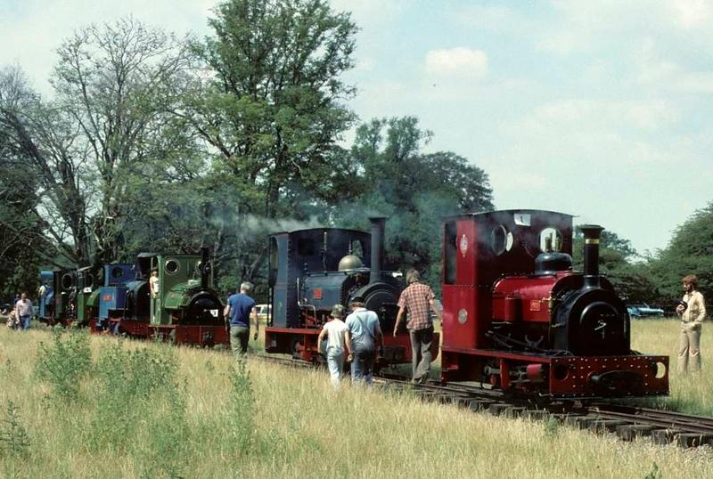 No 1, Lilla, Triassic, Sezela No 4, Pixie, Eigiau & Trixie, Knebworth Park & Wintergreen Railway, 25 July 1976.  Photo by Les Tindall.