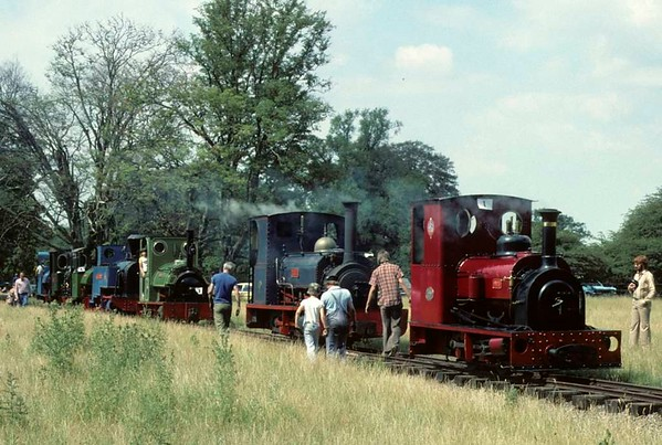 No 1, Lilla, Triassic, Sezela No 4, Pixie, Eigiau & Trixie, Knebworth Park & Wintergreen Railway, 25 July 1976.  Photo by Les Tindall.