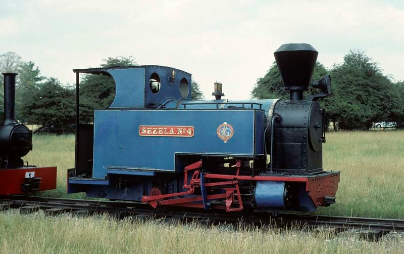 Sezela No 4, Knebworth Park & Wintergreen Railway, 25 July 1976.  Avonside 0-4-0T 1738 / 1915.  This loco came from the Sezela Estates, Natal, South Africa and subsequently moved to the Leighton Buzzard Light Railway where it remains in 2018.  Photo by Les Tindall.