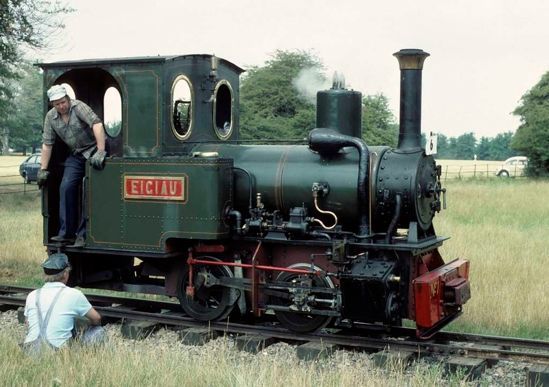 Eigiau, Knebworth Park & Wintergreen Railway, 25 July 1976. Orenstein & Koppel 0-4-0WT 5668 / 1912.  At the time of this photo the former Penrhyn quarry loco was based at Bressingham.  In 2018 it was at the Bredgar & Wormshill Railway.  Photo by Les Tindall.