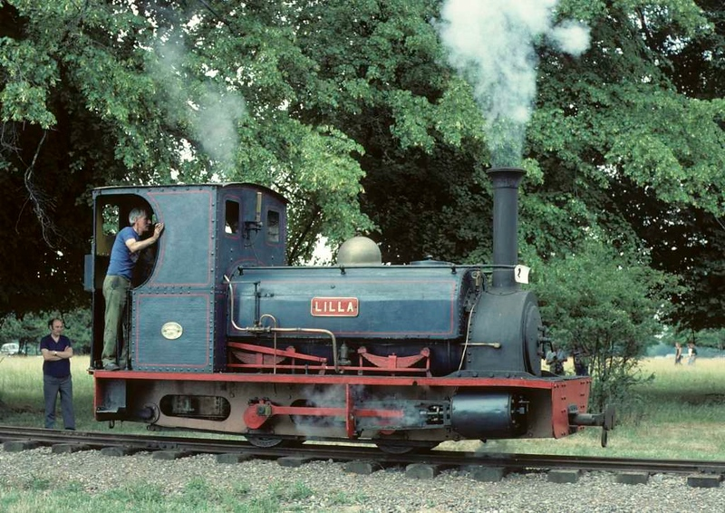 Lilla, Knebworth Park & Wintergreen Railway, 25 July 1976 2.  Steaming back towards the shed.  Photo by Les Tindall.