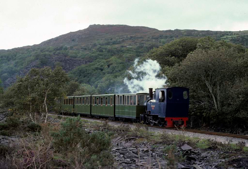 Helen Kathryn, Llanberis Lake Railway, 28 September 1975.  Heading bunker first to Gilfach Ddu.  Photo by Les Tindall.