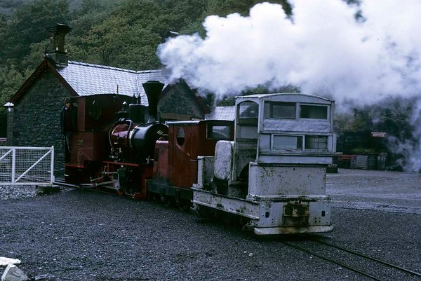 No 9 & two unidentified Motor Rail locos, Gilfach Ddu, Llanberis Lake Railway, 6 October 1974.  Photo by Les Tindall.