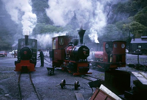 Cyclops, No 9 & No 1 Elidir, Gilfach Ddu, Llanberis Lake Rly, 6 October 1974.  Getting up steam outside the workshops as the rain pours.  Cyclops is Jung 0-4-0WT 7509 / 1937.  No 9 is Orenstein & Koppel 0-4-0WT 12722 / 1936, and in 2017 was on the Bredgar & Wormshill Rly.  Elidir is Hunslet 0-4-0ST 493 / 1889, still at Llanberis in 2017. Photo by Les Tindall.
